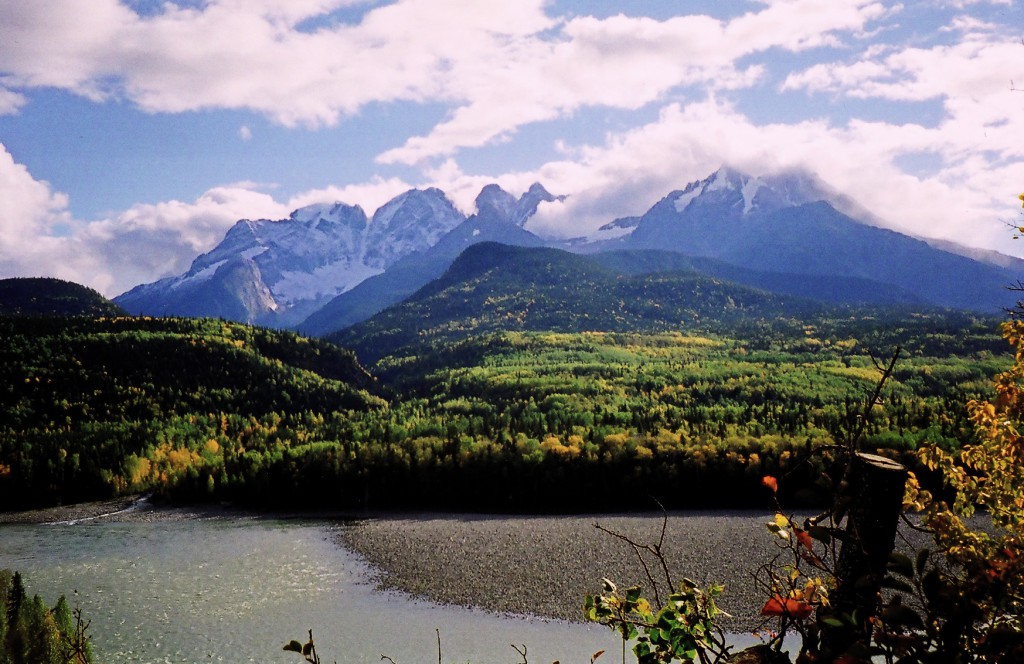 Seven Sisters Mountains and Skeena River