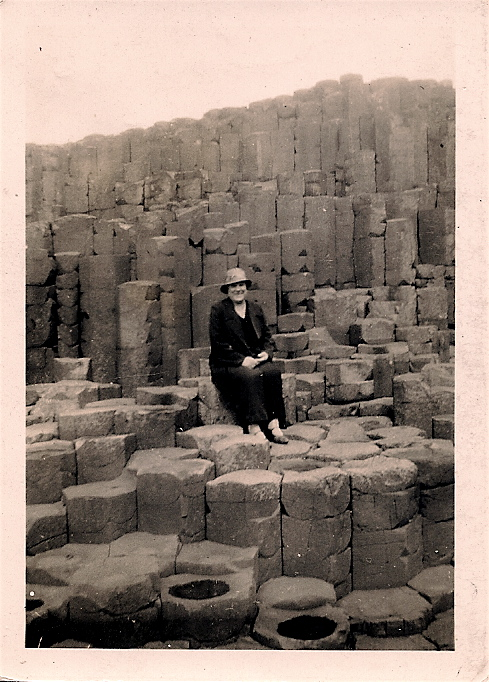 Harriet Burgess at the Giant's Causeway ca. 1950