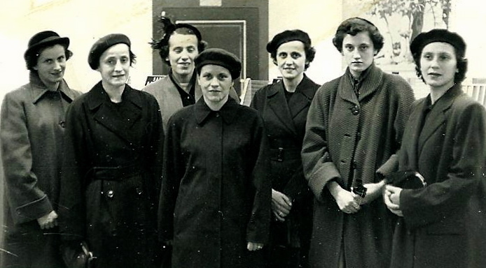 Helen, Maddie, Martha, Millie, Kay, Madge, Lou on the day they buried their mother in October 1954