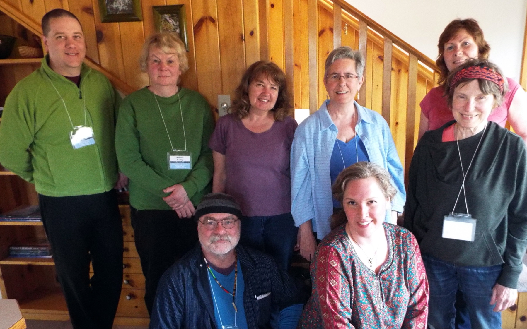 2017 Rural Writers in Residence, poetry reversals workshop. Back row, left to right: Harold Feddersen, Norma Kerby, Joan Conway, Leslie Prpich, Adrienne Fitzpatrick. Front: Baxter Huston, facilitator extraordinaire Elee Kraljii Gardiner, Suzanne Ross