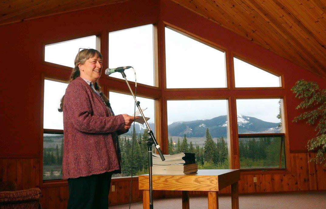 Smithers writer Sheila Peters reading from her work. Photo by Amanda Follett Hosgood