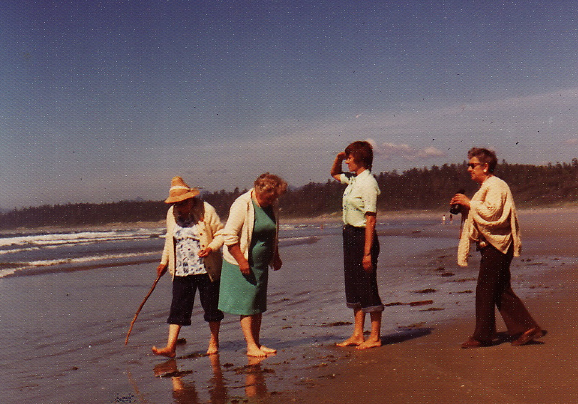 Long Beach, Vancouver Island, 1972. My mom Lorraine, second from the right, surveying the horizon. The others, right to left, are my grandmother Betsy, her sister Nan, and Nan's partner Sid.
